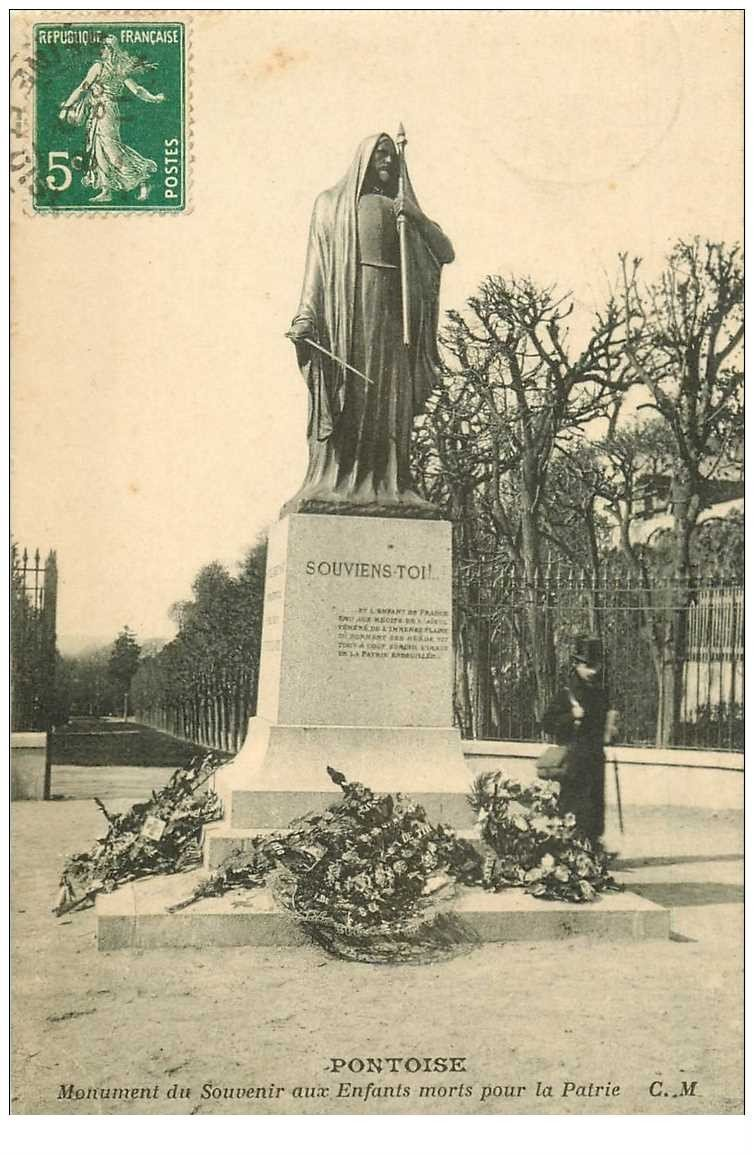 carte postale ancienne 95 PONTOISE. Monument aux Morts pour la Patrie 1912