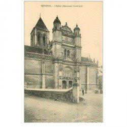 carte postale ancienne 95 VETHEUIL. Eglise animation