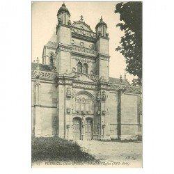 carte postale ancienne 95 VETHEUIL. Eglise Portail
