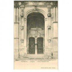 carte postale ancienne 95 VETHEUIL. Eglise Porte d'entrée