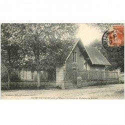 carte postale ancienne 95 VIARMES. Forêt de Carnelle. Maison de Garde du Château de Nointel 1910
