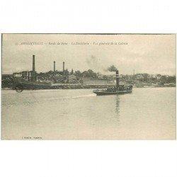 carte postale ancienne K. 95 ARGENTEUIL. La Distillerie et Cie des Bateaux Parisiens 1918