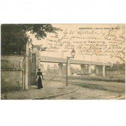 carte postale ancienne K. 95 ARGENTEUIL. Pont du Chemin de Fer 1904