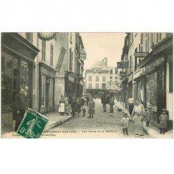 carte postale ancienne K. 95 BEAUMONT-SUR-OISE. Plan rare Rue Haute de la Vallée Comptoirs Français et Charcuterie