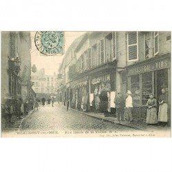 carte postale ancienne K. 95 BEAUMONT-SUR-OISE. Rue Haute de la Vallée 1905 Pâtisserie et Boucherie
