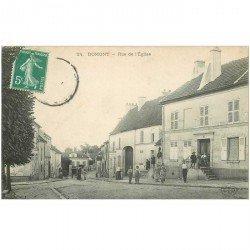 carte postale ancienne K. 95 DOMONT. Rue de l'Eglise 1911