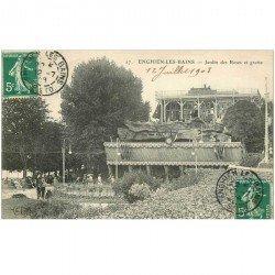 carte postale ancienne K. 95 ENGHIEN-LES-BAINS. Jardin des Roses et Grotte 1908