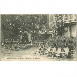 carte postale ancienne K. 95 ENGHIEN-LES-BAINS. Jardins du Kursaal animation