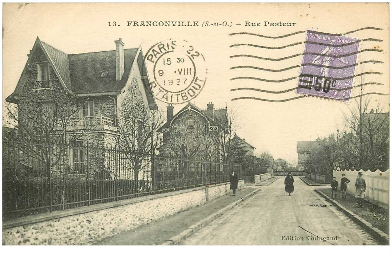 carte postale ancienne K. 95 FRANCONVILLE. Rue Pasteur 1927