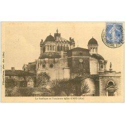 carte postale ancienne 01 Ars. Basilique et ancienne Eglise 1931
