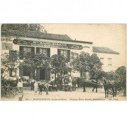 carte postale ancienne K. 95 MONTLIGNON. Café Restaurant Billard Dardé 1920 avec attelages