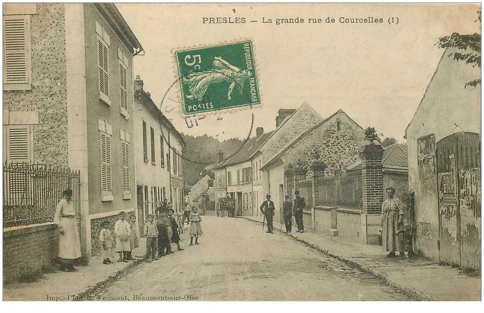carte postale ancienne K. 95 PRESLES. Grande Rue de Courcelles