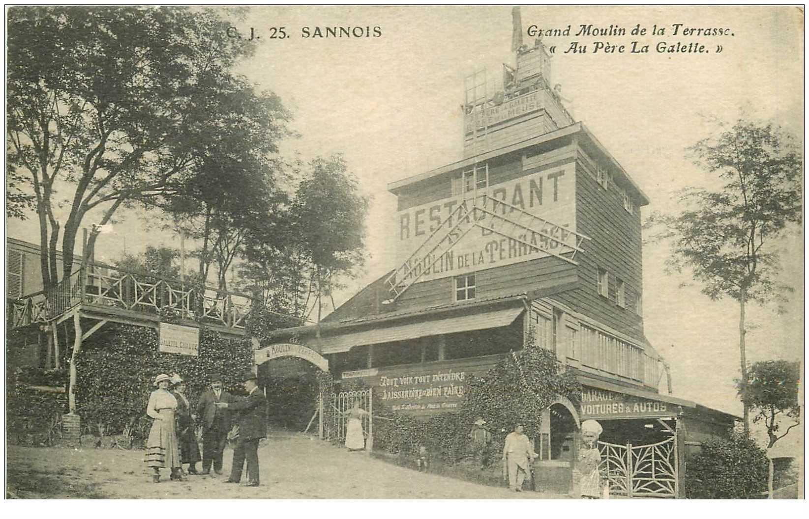 carte postale ancienne K. 95 SANNOIS. Grand Moulin de la Terrasse Au Père La Galette