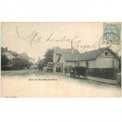 carte postale ancienne K. 95 SARCELLES-SAINT-BRICE. La Gare 1904