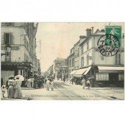 carte postale ancienne 95 ENGHIEN LES BAINS. Rue mora 1907 Restaurant du Loiret Boucherie Langlois et Hôtel