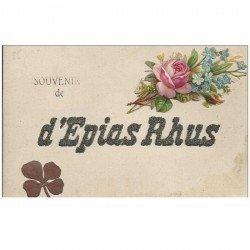 carte postale ancienne 95 EPIAS RHUS. véritable Trèfle à quatre feuilles et ajout de Rose