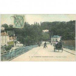 carte postale ancienne 94 LA VARENNE CHENNEVIERES. Moto trois roues, attelage et Restaurant sur le Pont