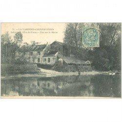 carte postale ancienne 94 LA VARENNE CHENNEVIERES. La Marne et Auberge de l'Ecu de France