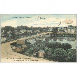 carte postale ancienne 94 LA VARENNE A CHAMPIGNY. Aéroplane sur le Pont
