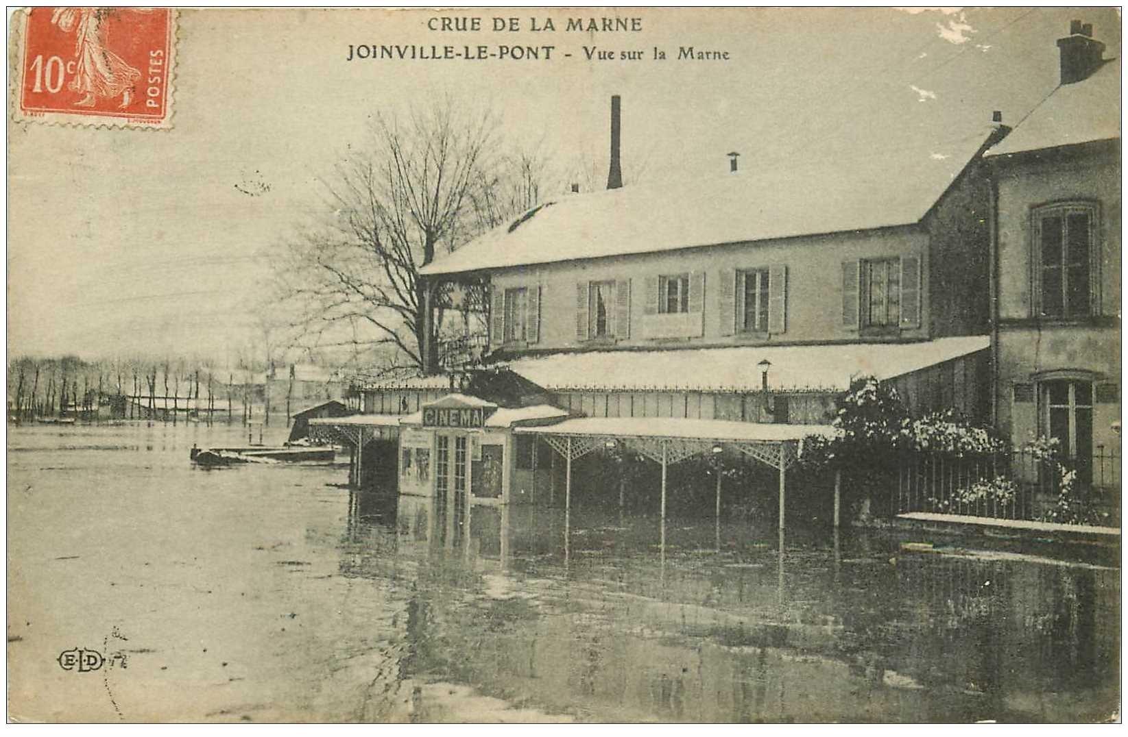 carte postale ancienne 94 JOINVILLE LE PONT. Crue inondation Cinéma inondé 1911