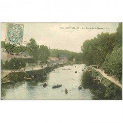 carte postale ancienne 94 JOINVILLE LE PONT. Canoteurs sur la Marne 1906