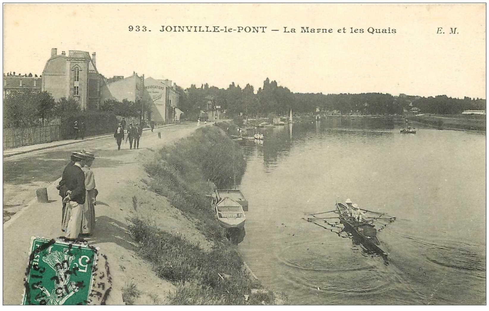 carte postale ancienne 94 JOINVILLE LE PONT. Canotiers sur la Marne 1909