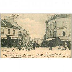 carte postale ancienne 94 JOINVILLE LE PONT. Café à la Descente de la Gare rue du Pont 1904
