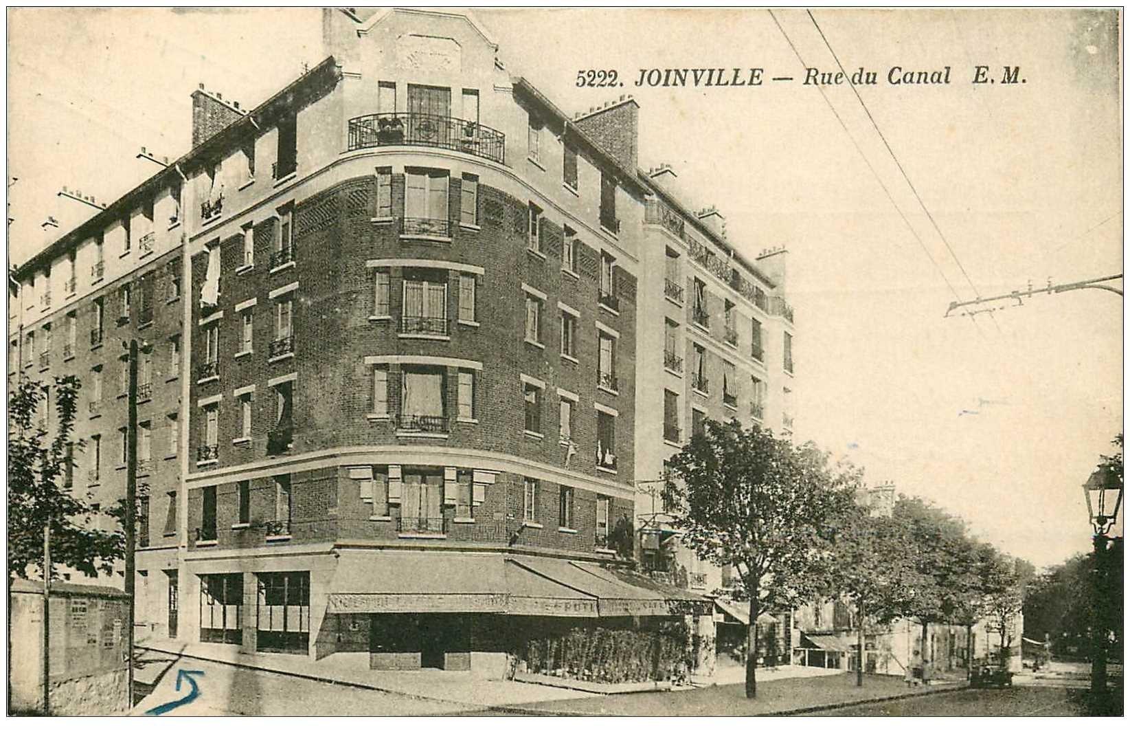 carte postale ancienne 94 JOINVILLE LE PONT. Café Rue du Canal 1939