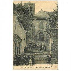 carte postale ancienne 94 IVRY SUR SEINE. Eglise animation vers l'Entrée