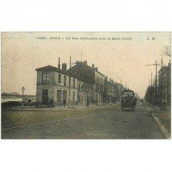 carte postale ancienne 94 IVRY SUR SEINE. Buvette Café à La Pointe Rue Nationale vers le Quai d'Ivry 1914