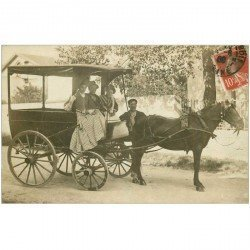 carte postale ancienne 94 FONTENAY SOUS BOIS. Superbe Attelage. Photo carte postale 1908 pour Paris