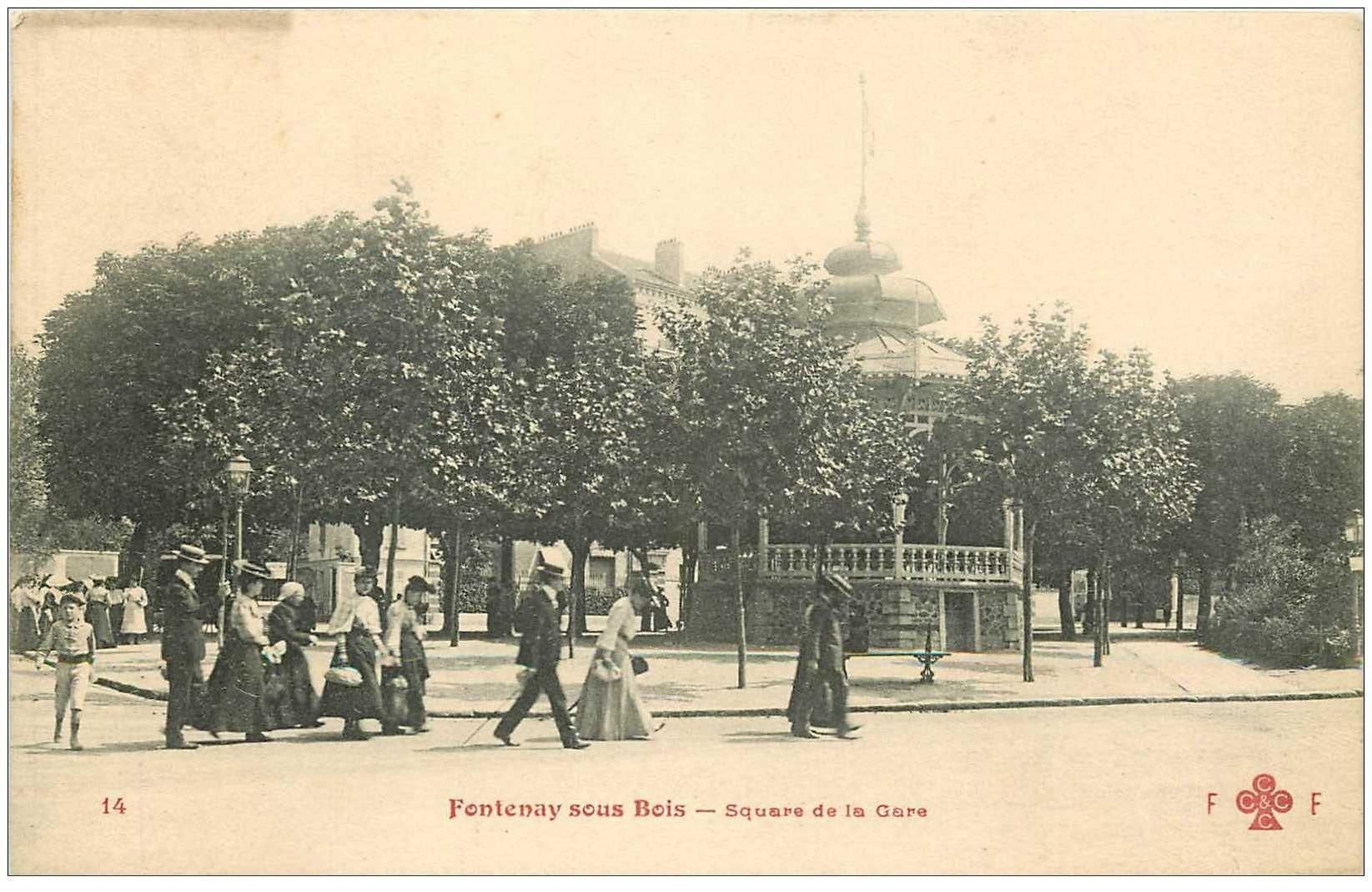 carte postale ancienne 94 FONTENAY SOUS BOIS. Square de la Gare vers 1911