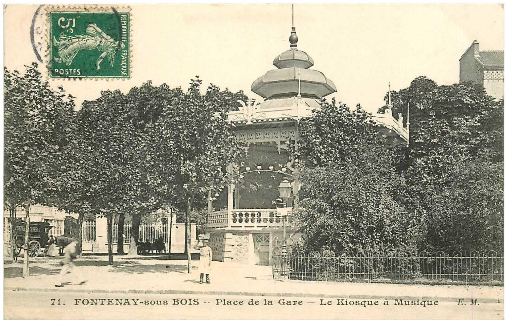 carte postale ancienne 94 FONTENAY SOUS BOIS. Place de la Gare le Kiosque à musique 1907