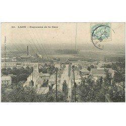 carte postale ancienne 02 LAON. Panorama de la Gare 1906