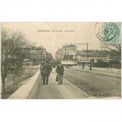 carte postale ancienne 94 CHARENTON LE PONT. Sur le Pont et Salle de Concert du Pont Parisien 1904