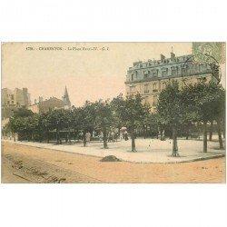 carte postale ancienne 94 CHARENTON LE PONT. Place Henri IV 1905. Ecrite au comédien Ameline