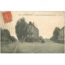 carte postale ancienne 94 CHARENTON LE PONT. Pharmacie Avenue du Marché et Rue de Paris 1930