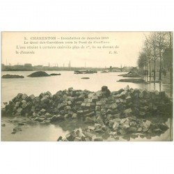 carte postale ancienne 94 CHARENTON LE PONT. Pavés Quai des Carrières Inondations de 1910