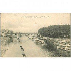 carte postale ancienne 94 CHARENTON LE PONT. Lavoir et Bateaux mouche sur Confluent de la Marne 1909