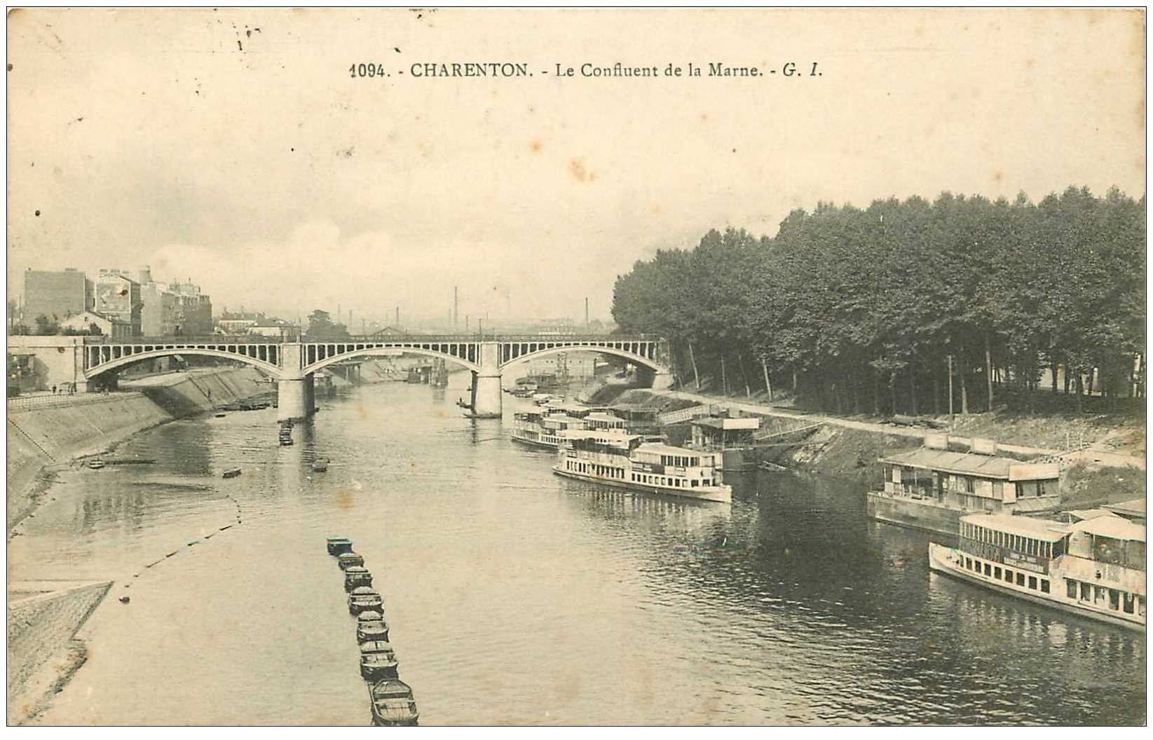94 charenton le pont lavoir et bateaux mouche sur confluent de la marne 1909. Black Bedroom Furniture Sets. Home Design Ideas