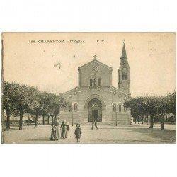 carte postale ancienne 94 CHARENTON LE PONT. L'Eglise correspondance militaire Timbre Taxe 1915