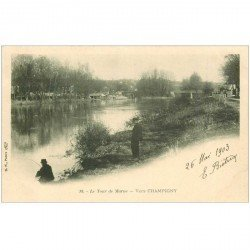 carte postale ancienne 94 CHAMPIGNY SUR MARNE. Un Pêcheur bord de la Marne 1903