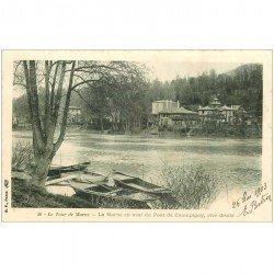 carte postale ancienne 94 CHAMPIGNY SUR MARNE. La Marne en aval du Pont 1903