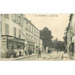 carte postale ancienne 94 CHAMPIGNY SUR MARNE. La Grande Rue 1909 Buvette, Tabac, Zinguerie Ciment volcanique, Auto Stelline...