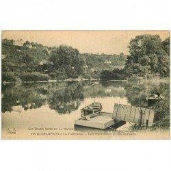 carte postale ancienne 94 CHAMPIGNY SUR MARNE. A la Varenne l'Ile d'Amour et l'Ecu de France avec Pêcheur à la ligne