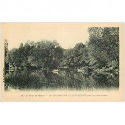 carte postale ancienne 94 CHAMPIGNY SUR MARNE à LA VARENNE. Le Tour de Marne en barque vers 1900