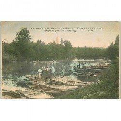 carte postale ancienne 94 CHAMPIGNY SUR MARNE A LA VARENNE. Départ pour le Canotage