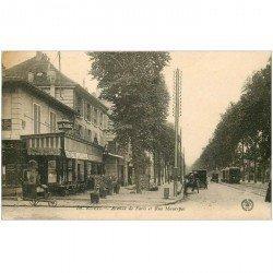 carte postale ancienne K. 92 RUEIL MALMAISON. Avenue de Paris et Rue Maurepas 1921 Tabac Billard