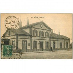 carte postale ancienne K. 92 BECON. La Gare 1914