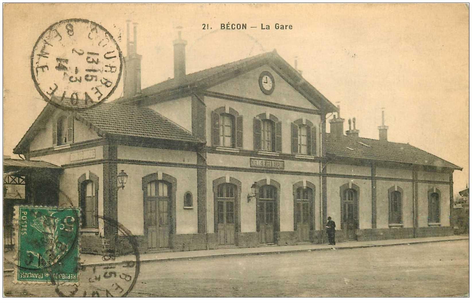 carte postale ancienne K. 92 BECON. La Gare 1914